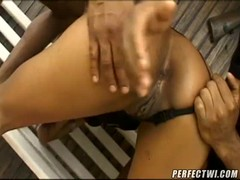 Two black sausages are drilling a slender young Latina! Thumb