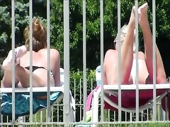 two  of three candid bikini bootie breasts vagina tail Tanning Pool Side Thumb