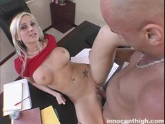 Slutty blonde is getting pounded hard in the video by the Innocent High Thumb