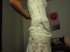 Honeymoon bride strips and give blow job Thumb