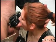 French redhead slut in latex getting hard sodomized Thumb