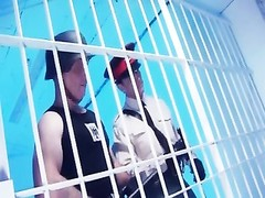 lovely goth Coco Charnelle in a prison cell with 2 men Thumb