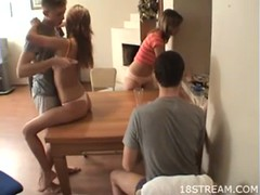 Teen whores enjoy foursome Thumb