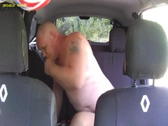 Slutty russian mature is jumping on the dick of an old male in the car Thumb