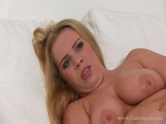Busty blonde is fucking her tight pussy with a hard black dildo Thumb