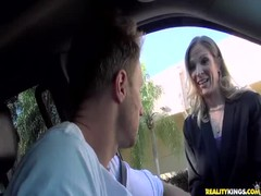 Bleached cutie being picked up and fucked by horny driver Thumb