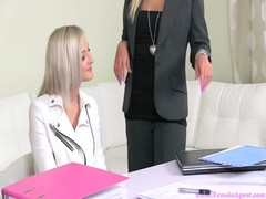 Innocent young blonde want to check out herself at the casting Thumb