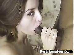 big-titted Sarah deep-throats monster and getting poked Thumb