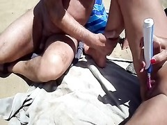 Stranger and sex toy playing customary in dunes Thumb
