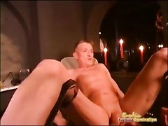 Sexy Dominatrix Squeezes Guys Balls and Fingers His Ass Thumb