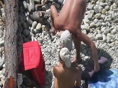 Voyeur. Hubby fucked his wife and cum it at public beach Thumb