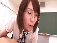 Sexy Asian teacher in stockings fucks with two horny students Thumb