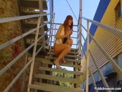 Redhead blows a cock outdoors, she has no fear of being caught Thumb