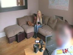 Awesome young blonde is getting pleasure from interview Thumb