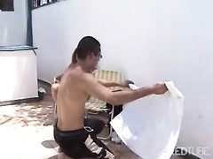 Brunette chick jizz sprayed by the pool Thumb