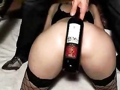 Deep banging pink hole of my bitch with wine bottle. fledgling Thumb