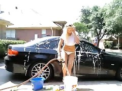 warm blondie Washes Car & fucktoys  ass On Cam Thumb