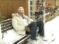 crazy teen jacking in snow Thumb