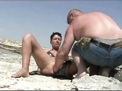 Shameless inexperienced fisted on a public beach and at domestic Thumb