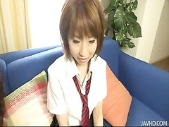 Yui Misaki in her school uniform hooked and nailed Thumb