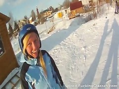 Snowboarder female enjoys pecker Thumb