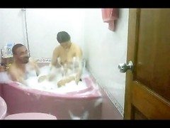 indian couple taking bath soaping each other bhabhi poked  hard Thumb