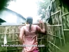indian lady from village taking start air shower recorded by neighbour on mobile Thumb