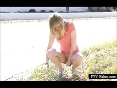 blonde temptress talks a pace naked in public Thumb