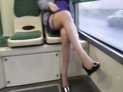 female flashing stockings in a bus Thumb