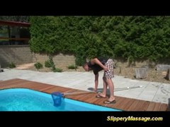 Crazy poolboy enjoys a slippery massage with happy end Thumb