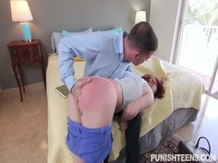 Pretty redhead gets spanked and then fucked in her mouth Thumb
