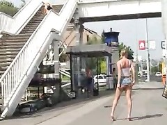 girl Pissing in Public and kicked by an old boy Thumb