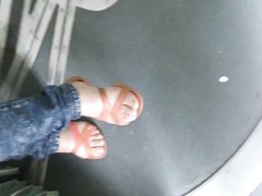 teenage  with beautiful feet in the tramway Thumb