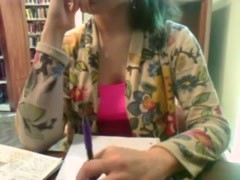 Girl bored in library decides to masturbate Thumb