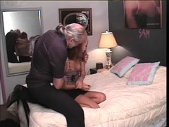 Old guy binds and suspends cute Asian whore with no tits above hotel bed Thumb