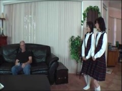 Schoolgirls Stroke Old Man Cock Thumb