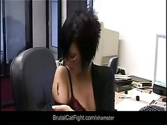 Office catfight between brunettes Thumb