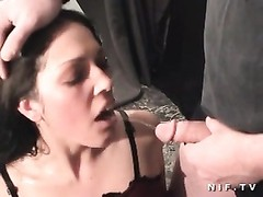 French brunette facialized in 3some Thumb