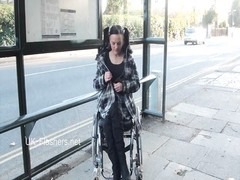 Paraprincess outdoor exhibitionism and flashing wheelchair Thumb