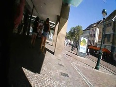 two German damsels  Shopping Hotpants Upskirt brilliant butt legs Thumb