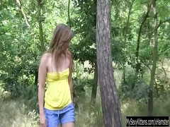small titted teenage  Bella milks outdoors Thumb