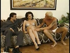 scorching youthful brunette stunner with affable hooters gives head on couch and anal invasion pound Thumb