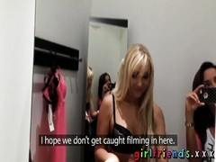 Girlfriends bewitch up straight woman flashing in public Thumb