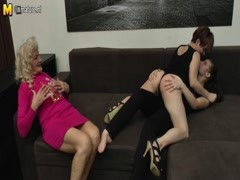Three horny old and young lesbians fuck on the couch Thumb
