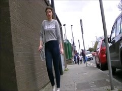 Candid teen walking in tight jeans Thumb