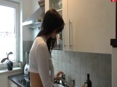 German teen Fuck in the Kitchen Thumb