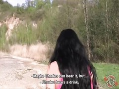 tramp cease - petite gloomy haired tattooed hooker torn up outdoor Thumb
