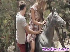 Smoking steamy teen Anjelica rails  a monster on a park bench Thumb