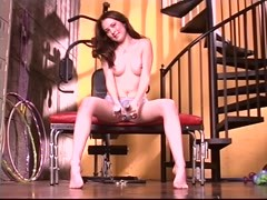 Ivie fucks her tight pussy with dildo near the stairs Thumb