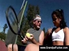 Tennis starlet  swallows ancient teachers pecker Thumb
